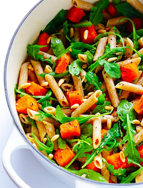 Keeping things simple with pasta + butternut squash + arugula + pine nuts + goat cheese. Just go easy on salting the pasta water to keep sodium levels down.Recipe here.