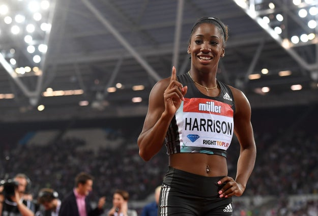 "US runner Kendra ""Keni"" Harrison, 23, came in first place in the 100-meter hurdles at the IAAF Diamond League track and field meet in London on July 22."