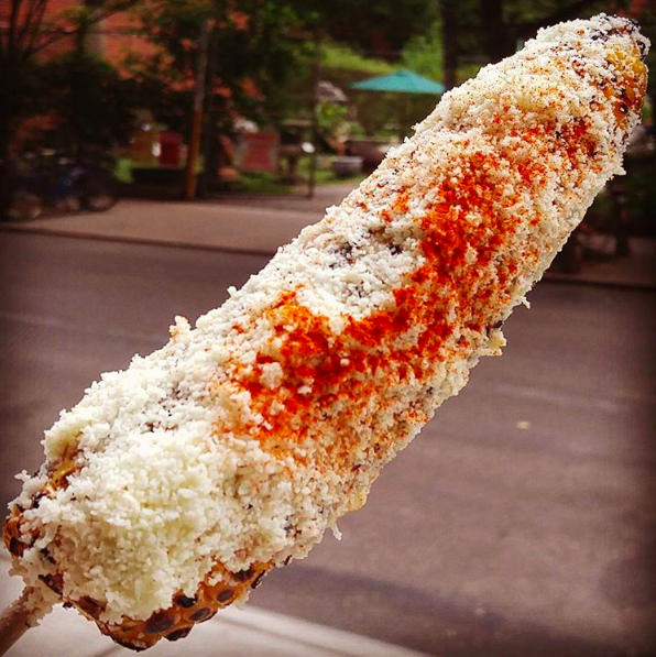 This elote that is just slightly curved: