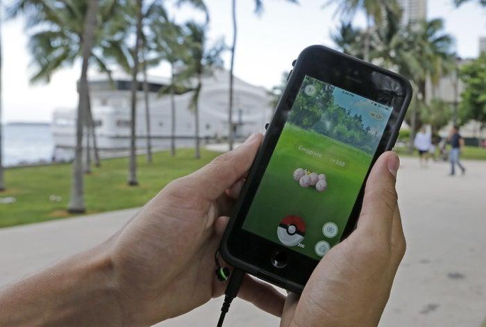 A Pokemon Go player in downtown Miami.