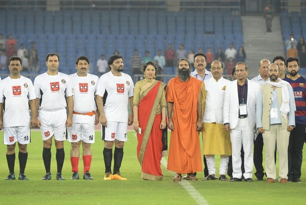 Baba Ramdev participated in a friendly football match between Indian celebs and parliamentarians for charity.