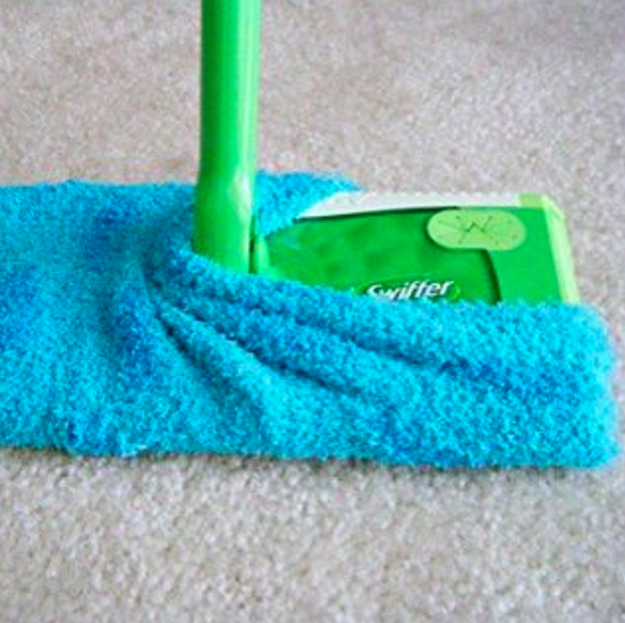 Instead of buying expensive refills, use a fluffy sock over your floor cleaner.