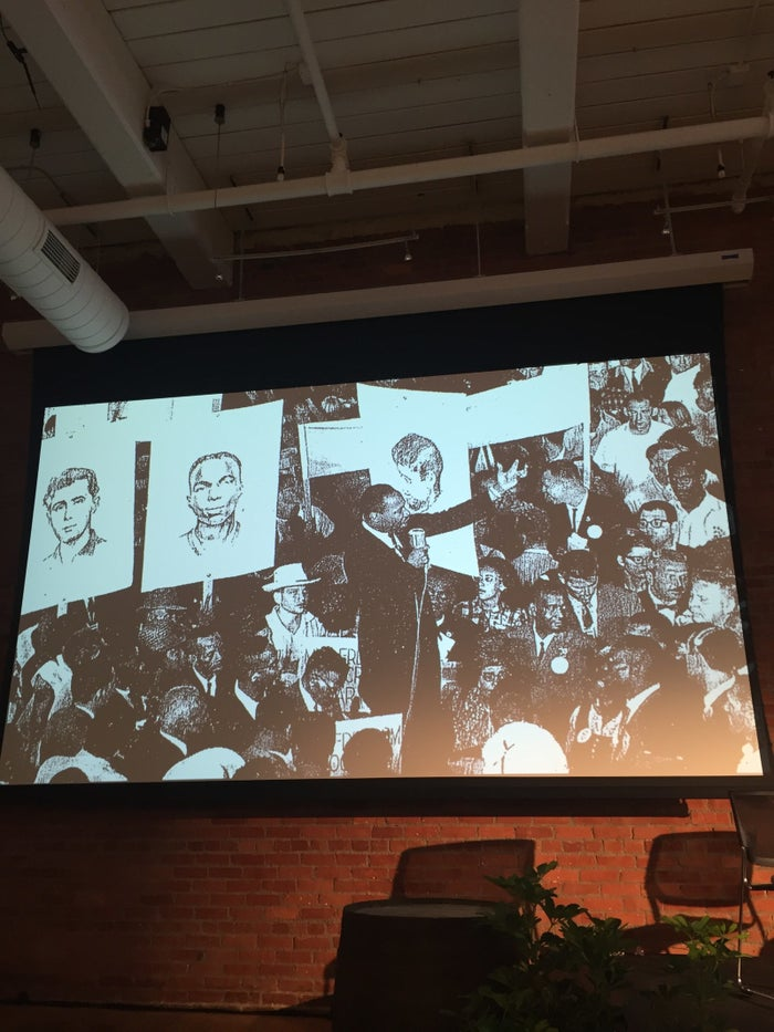 Images of civil rights leaders adorned the walls during the event.