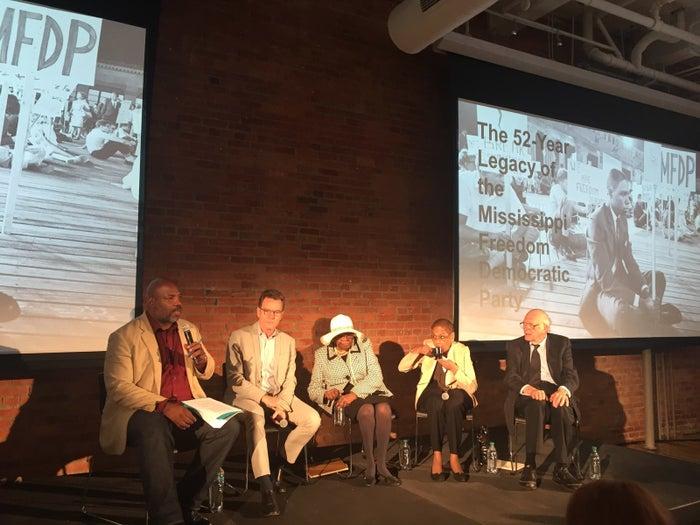 From left: Jelani Cobb, Bryan Cranston, Emma Sanders, Eleanor Norton, and Rev. Ed King.