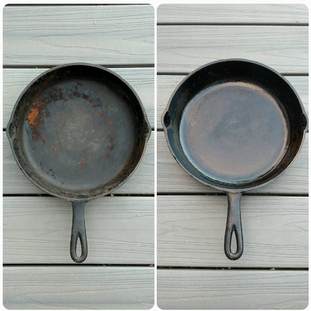 Effectively clean your cast iron by using a potato half and salt.