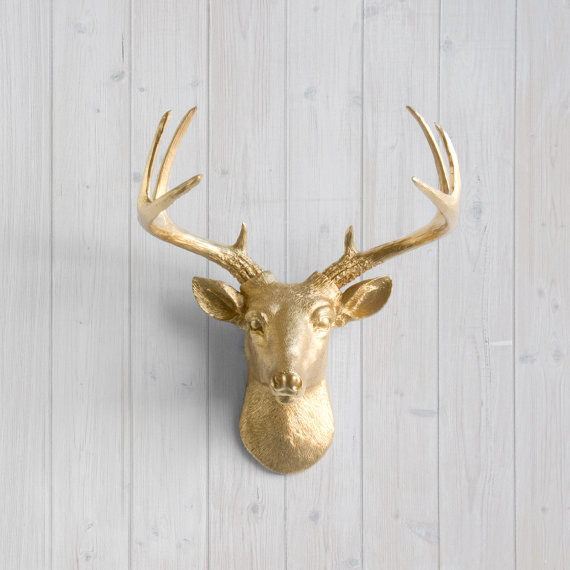 Give your home that ~this is my country home~ vibe with some golden stag heads.