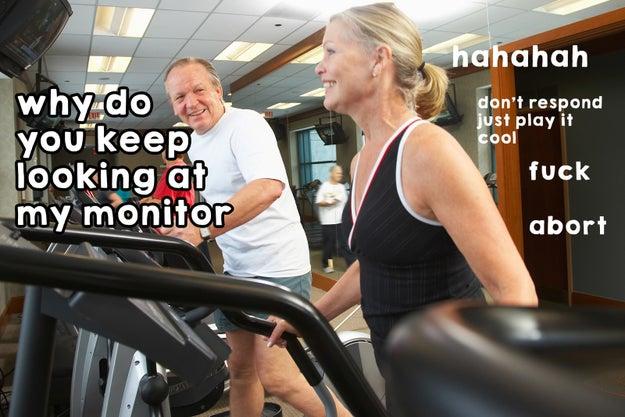 Ver el monitor de la persona que está al lado para comparar las calorías quemadas/RPM/resistencia.