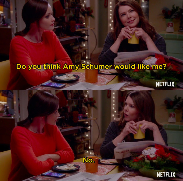 And in a promo scene between Lorelai (Lauren Graham) and Rory (Alexis Bledel), the ultimate mom-and-daughter duo have a conversation about whether Amy Schumer would like Lorelai or not.
