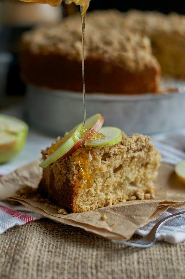 Apple, Tahini, and Honey Coffee Cake