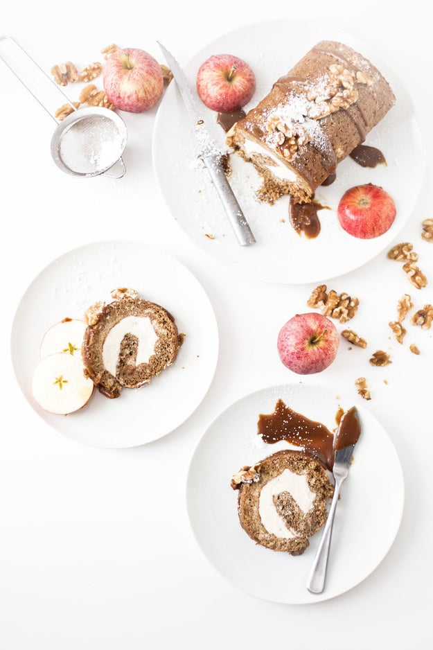 Apple Cake Ice Cream Roll With Smoked Salted Caramel Sauce