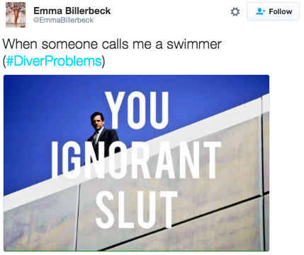 Or just as bad, when someone doesn't grasp the fact that just because you're wearing a bathing suit, you're not a swimmer: