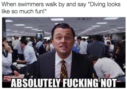 Oh, and when swimmers walk by and don't understand how diving does not just equal jumping into the water: