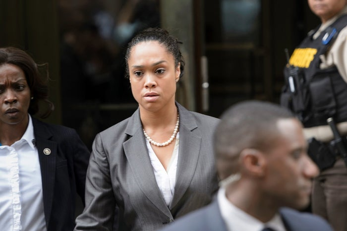 Baltimore City State's Attorney Marilyn Mosby leaves after Baltimore Officer Caesar Goodson Jr. was acquitted of all charges in his murder trial for the death of Freddie Gray.