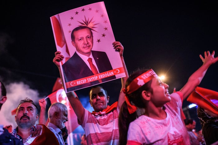 Erdogan supporters at a rally in Istanbul.