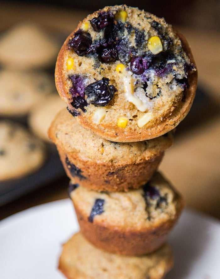 Meet the blueberry corn muffin. It's a little healthier than a traditional blueberry muffin (because whole grain flour and cornmeal and fresh corn, oh my!) The corn also adds a different kind of sweetness, and some extra texture.