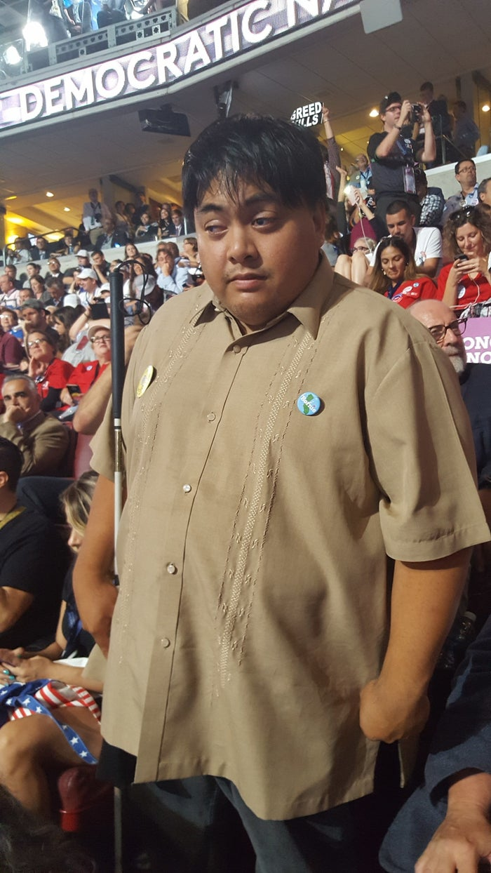 Jestin Samson in the stands with the California delegation.