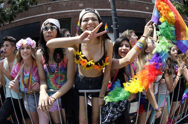 People celebrate at the annual Chicago Pride Parade on Sunday, June 28, 2015.