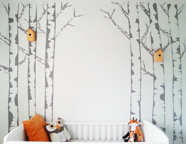 This wall with hand-painted birch trees is easy enough for anyone to do — really. Find out more at Make Do and DIY.