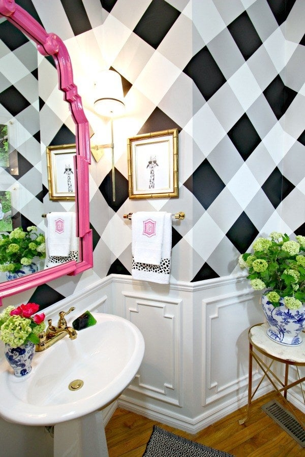 This chic wall makeover is actually easy to do with tape, a few shades of paint, and patience. Get the tutorial at Dimples & Tangles.
