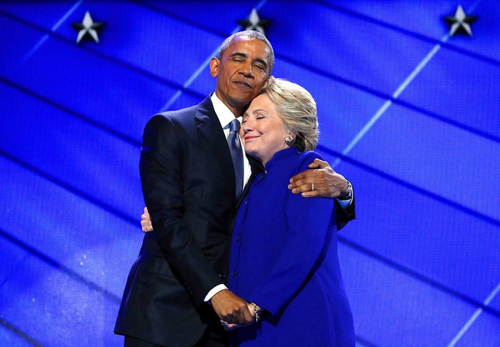 President Barack Obama hugs Democratic Presidential candidate Hillary Clinton after addressing the delegates during day three of the Democratic National Convention in Philadelphia.