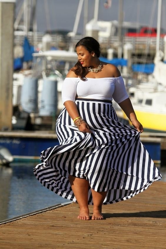 These wide vertical stripes on a flowy maxi are perfectly ladylike