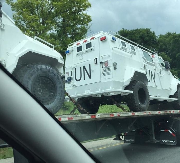 """Facebook user Jeff Stern shared several photos on his account in late June showing three armored UN vehicles on the back of a flatbed truck. """"Can't begin to tell you how many of these I passed today on [Interstate] 81 near Lexington VA, Interesting times ahead!"""" he wrote."""