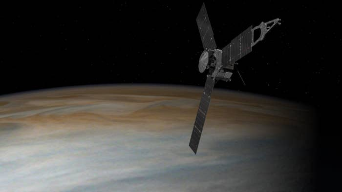 "It's named after the Roman goddess who was Jupiter's wife. ""In Greek and Roman mythology, Jupiter drew a veil of clouds around himself to hide his mischief. It was Jupiter's wife, the goddess Juno, who was able to peer through the clouds and reveal Jupiter's true nature,"" according to NASA."