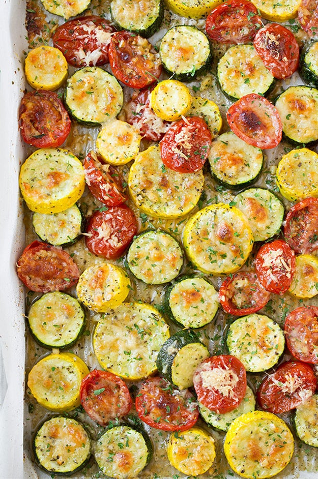 Roasted Garlic-Parmesan Zucchini, Squash, and Tomatoes