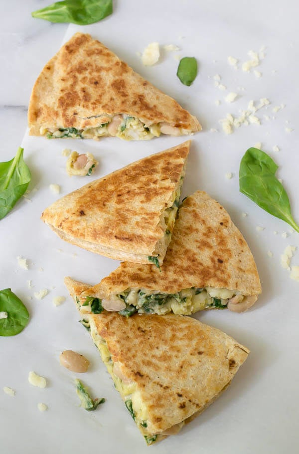 Then just microwave them the morning of, and munch on the go (they're commute-friendly, if you don't have time to sit down to nom before you have to head out, which, who are we kidding here). Get the recipe for these freezer-friendly white bean and spinach whole-grain quesadillas here.