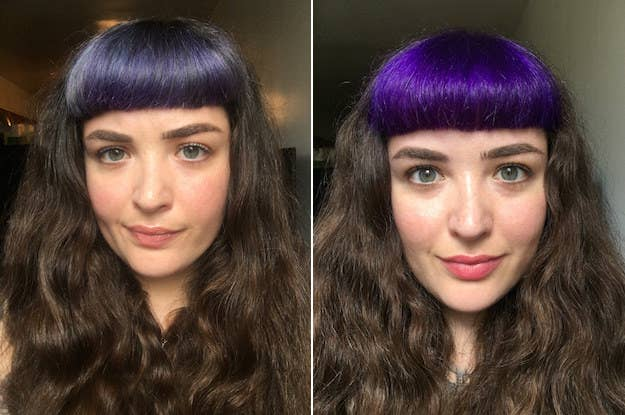 "I have been using Manic Panic on and off since high school — most recently a jar of their semipermanent Atomic Turquoise that Augusta had lying around for my bangs. But after several months of fading blue-green bangs and years of not trying another brand, it felt like time for a change, so I decided to try Pravana ChromaSilk Vivids in Violet. Now, my fellow frequent dyers, I have always been the instant gratification type. Like, I know I'm supposed to mount shelves with special anchors and shit, but that hasn't changed my habit of instead doing it with whatever's in my house, so long as it takes under five minutes. Which means I've been living with wobbly shelves for my whole adult life. By the same token, I thought I might be able to skip lightening my bangs again and just plop the purple on top of my faded green — which, if you're not already 100% confident in this, was a stupid idea and resulted in sad purple-grayness that I had to redo every week or so. Now that I've fully committed and bleached my bangs again before adding the purple, though, the ChromaSilk seems to be staying way more vibrant than its Manic Panic counterpart (I used Pravana Power Lightener and some Clairol Professional Creme Developer I had lying around for the lightening, but you may find something else works better for you). I haven't yet grown out of my bad shelf habits, or what one commenter called ""hilarious fringe"" in the last post (I mean, true; I don't see much point in not having fun with the way I look), but it seems as if I've grown out of my trusty high school dye brand after all. Check it out, and don't skip the bleach. —Nora WhelanGet it here for $10.79."