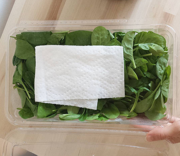 Putting a paper towel in with your lettuce soaks the moisture so that it will stay crispier for a longer period of time.