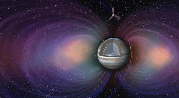 Scientists hope to learn a lot more about what is in Jupiter's atmosphere, including how much water it contains — something the planet's radiation belts (seen above in an artist's impression) prevent us doing from Earth.