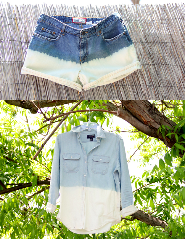 Make a thrifted pair of shorts or shirt look ~cool~ with a quick dip in a bucket of bleach.