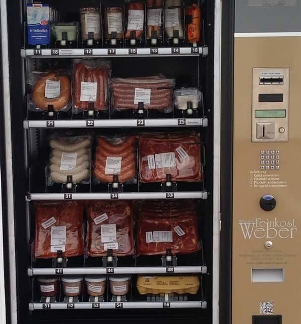 Esta máquina expendedora de carne en Alemania.