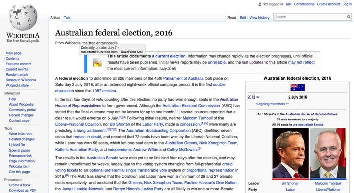 bb0cc9ca ... a computer in the United States Congress has updated the Wikipedia page  for Australia's recent federal election to add a note about Harambe, the  gorilla ...
