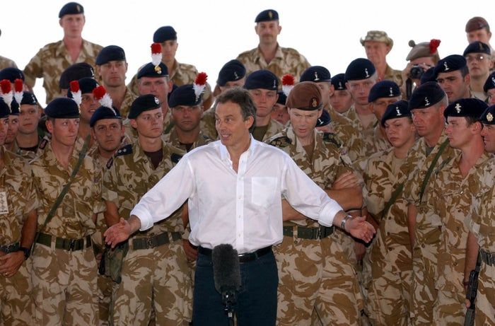 Tony Blair addresses troops in Basra, Iraq in May 2003.
