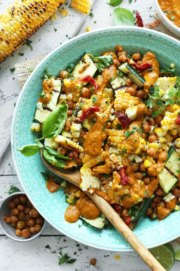Grilled Corn and Zucchini Salad With Sun-Dried Tomato Vinaigrette
