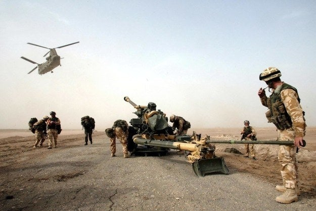 British 29 Commando Regiment Royal Artillery on the Fao Peninsula in southern Iraq, March 2003.