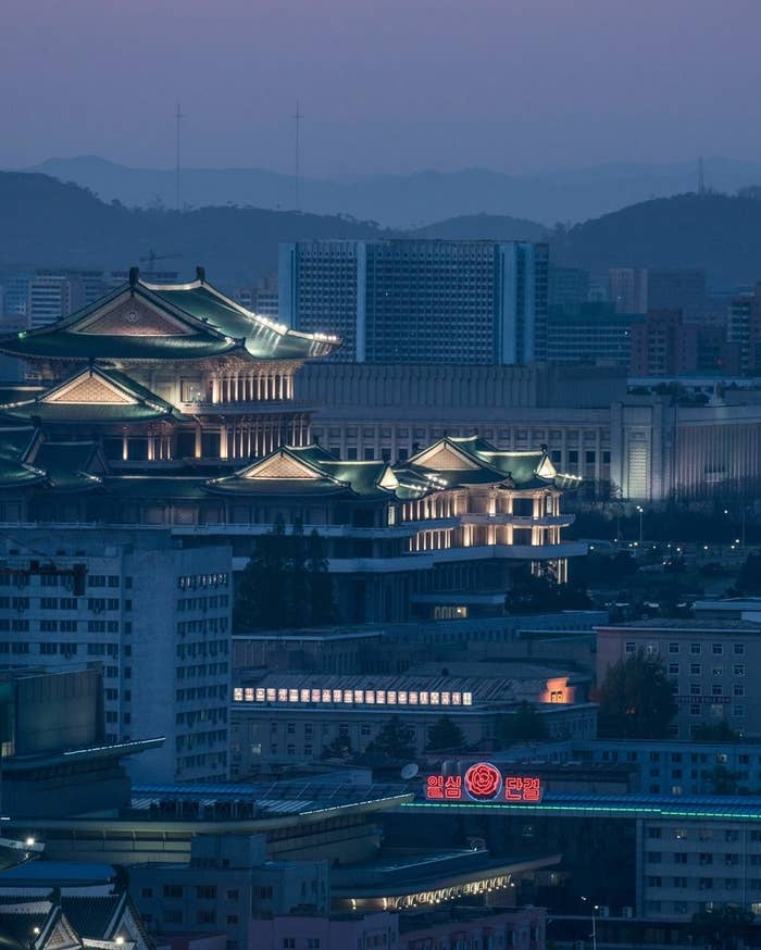 A general view shows the Grand People's Study House and the Pyongyang city skyline from the Yanggakdo International Hotel on May 8, 2016.