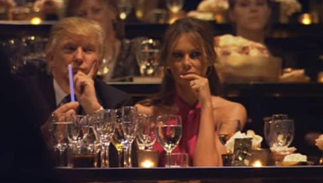 Trump bids at the gala.
