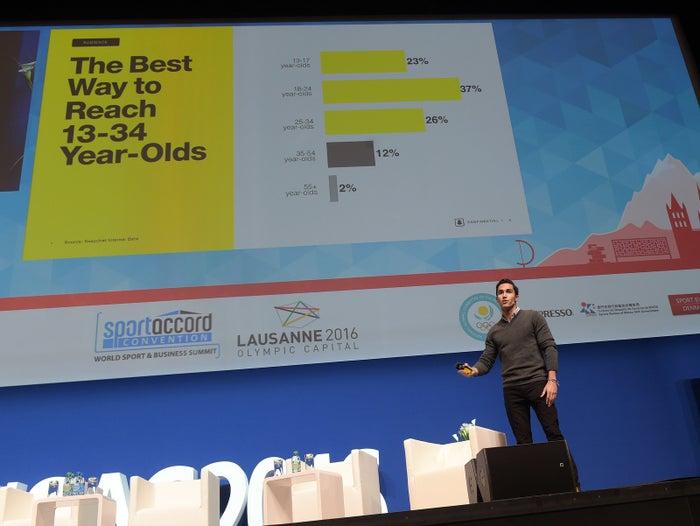 Juan David Borrero of business development at Snapchat addresses a conference.