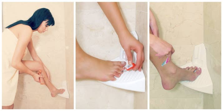 Keep Your Balance By Shaving Those Stems On A Shower Step