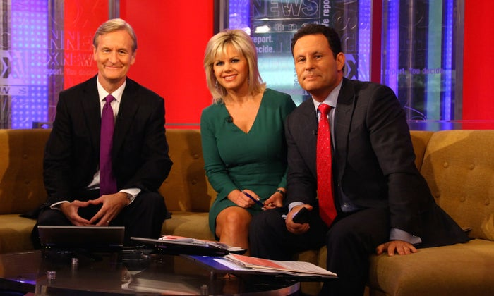 Steve Doocy, Gretchen Carlson, and Brian Kilmeade when the trio co-hosted Fox & Friends.