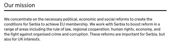 The Foreign Office's current position on Serbia includes support for EU membership.