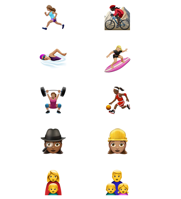 """""""This exciting update brings more gender options to existing characters, including new female athletes and professionals, adds beautiful redesigns of popular emoji, a new rainbow flag and more family options,"""" an Apple statement said."""