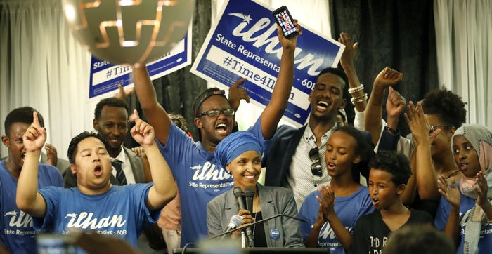Ilhan Omar, center, after winning the DFL primary in Minneapolis.