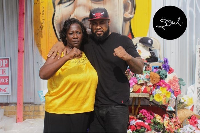 Chris LeDay (R) and Veda Sterling, Aunt of Alton Sterling, in front of the convenience store where the shooting occurred on July 5.