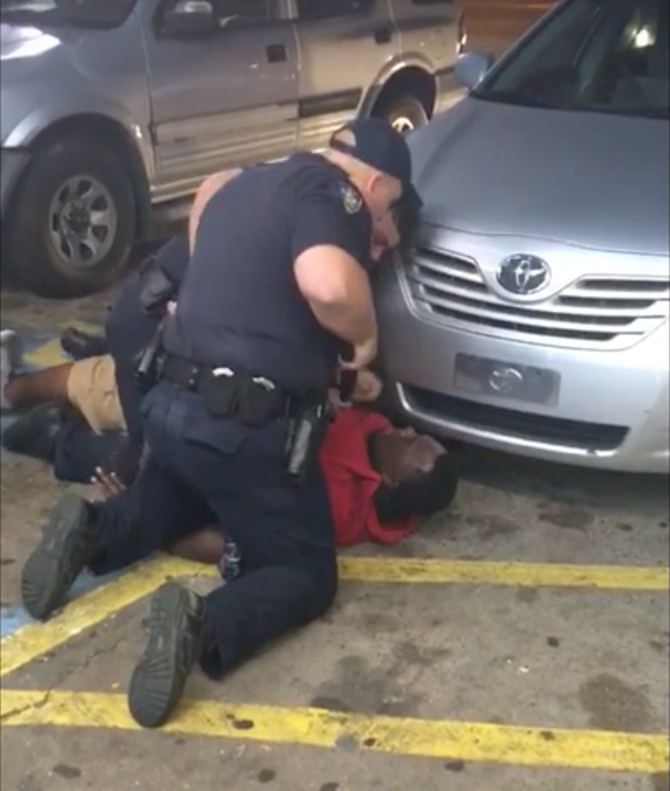 An image from the video of the fatal police shooting of Alton Sterling in Baton Rouge.