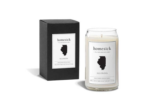 Ah, Illinois: the land of grain fields, violets, and lavender. The box and candle labels also have a minimalistic, black image of your state in case you've been away from home for so long that you forgot what your state looks like.