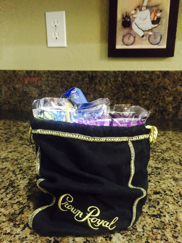 This kid's lunch packed in a Crown Royal bag: